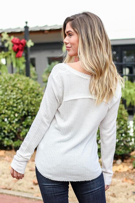 White - Waffle Knit Top Back View