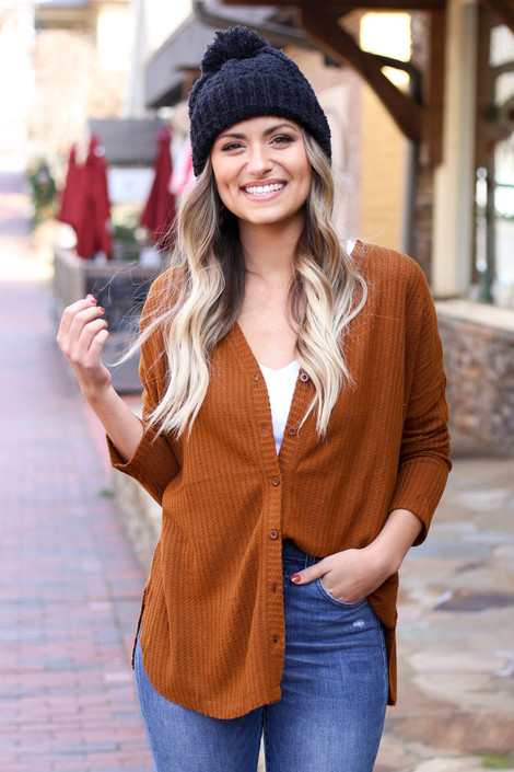 Camel - Button Up Waffle Knit Top