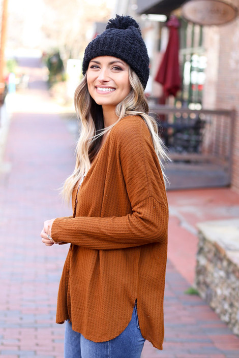 Camel - Button Up Waffle Knit Top Side View