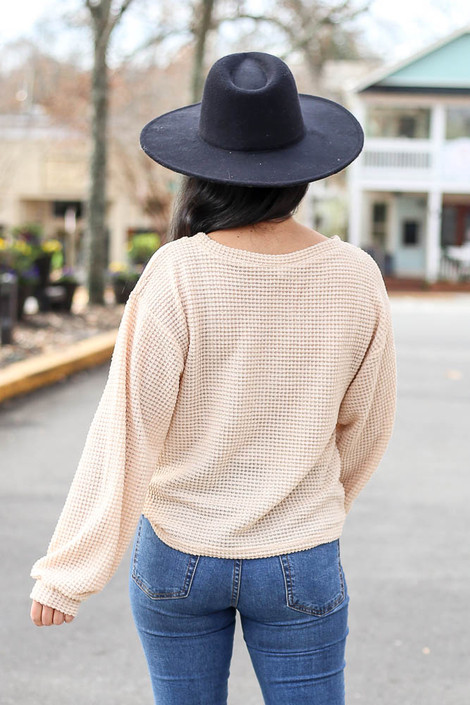 Taupe - Waffle Knit Lightweight Pullover Back View in taupe