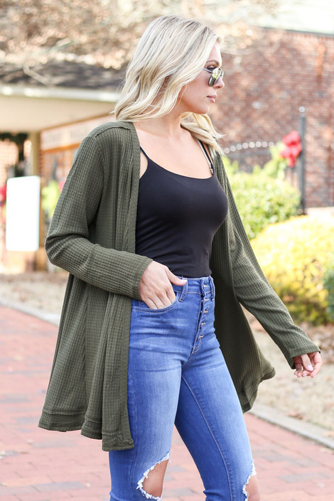 Olive - Waffle Knit Cardigan Side View