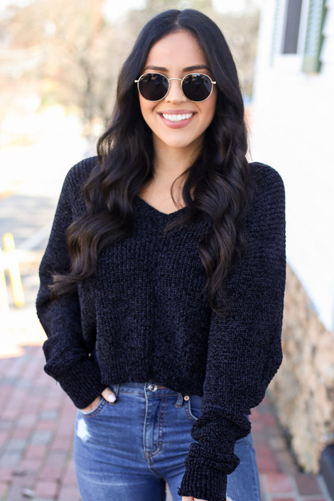 Black - Cropped Chenille Sweater with light wash jeans