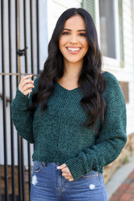 Green - Cropped Chenille Sweater perfect for Christmas