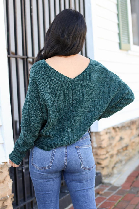 Green - Cropped Chenille Sweater Back View and jeans
