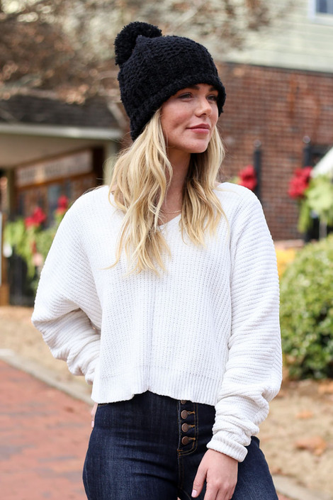 Ivory - Cropped Chenille Sweater and black beanie
