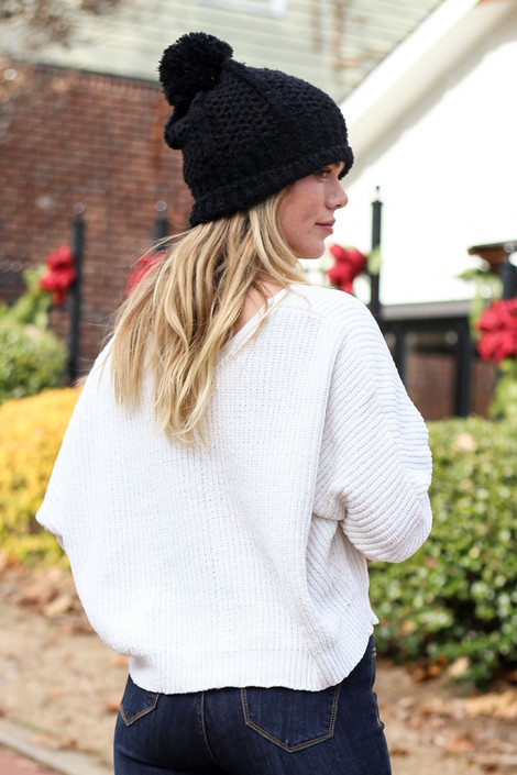 Ivory - Cropped Chenille Sweater Back View with black beanie
