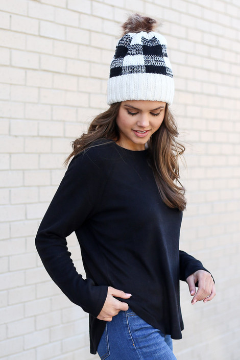 Black - Brushed Knit Raglan Top from Dress Up