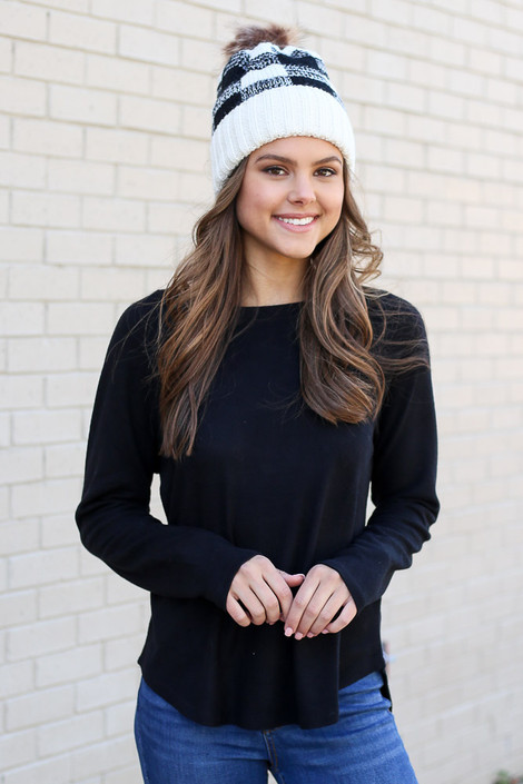 Black - Brushed Knit Raglan Top