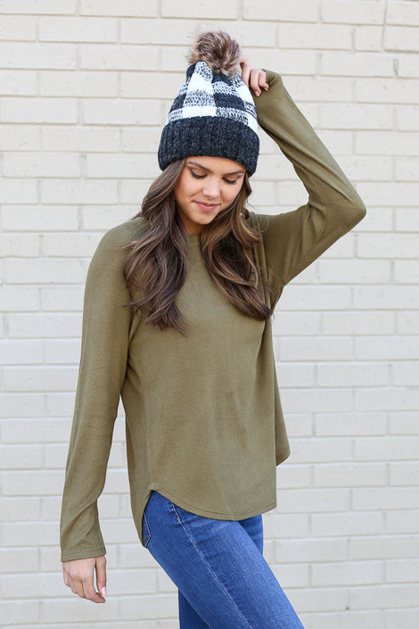 Olive - Brushed Knit Raglan Top from Dress Up