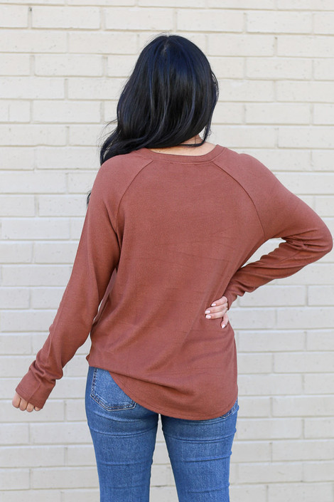 Model from Dress Up wearing the Brushed Knit Raglan Top in Camel Back View