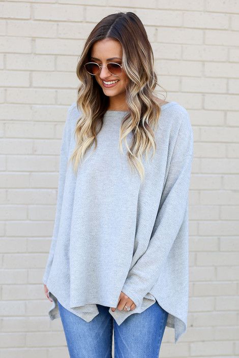 Model wearing the Grey Oversized Waffle Knit Top from Dress Up Front View