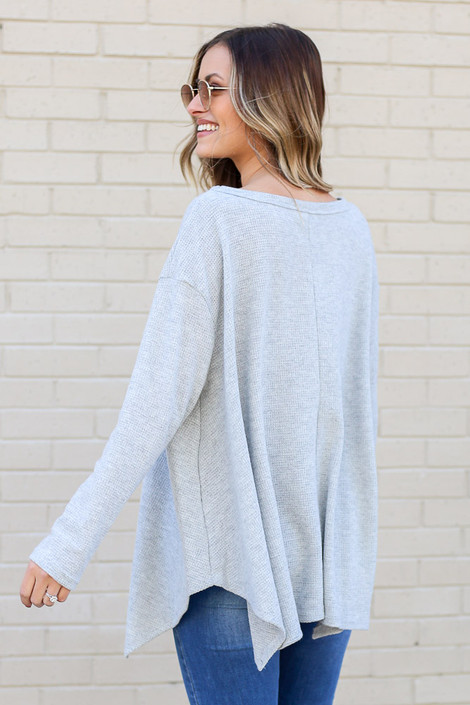 Model wearing the Grey Oversized Waffle Knit Top from Dress Up Back View