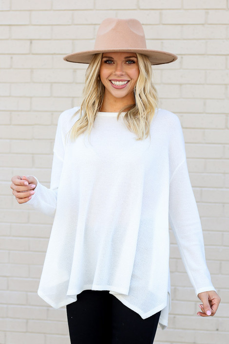 Model wearing the White Oversized Waffle Knit Top from Dress Up Front View
