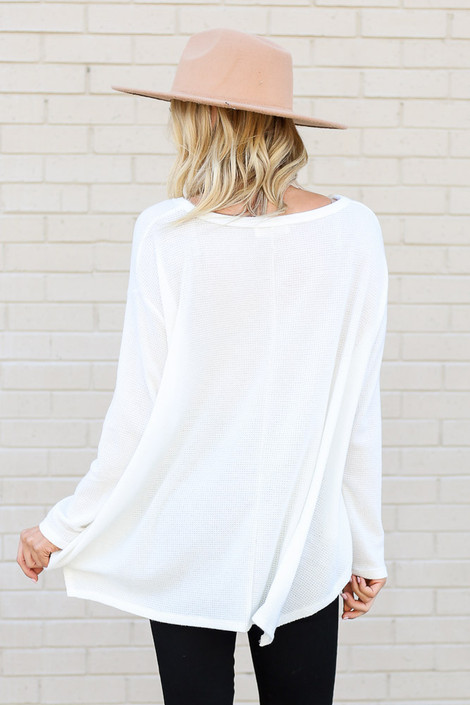 Model wearing the White Oversized Waffle Knit Top from Dress Up Back View