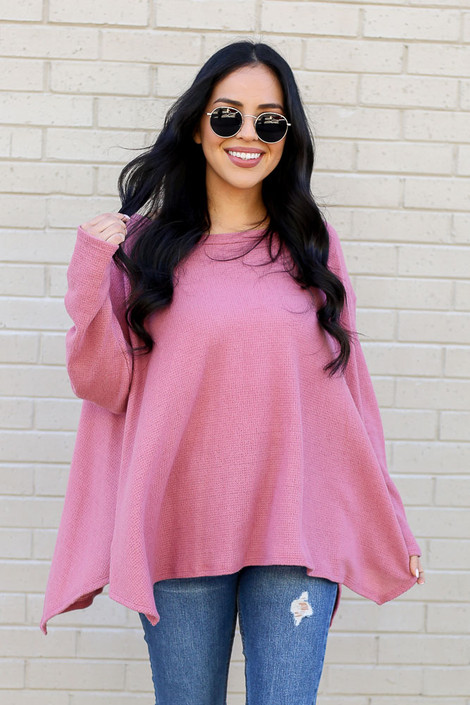 Model wearing the Mauve Oversized Waffle Knit Top from Dress Up Front View