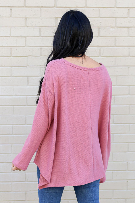 Model wearing the Mauve Oversized Waffle Knit Top from Dress Up Back View