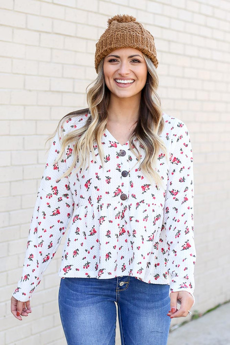 White - Waffle Knit Floral Top
