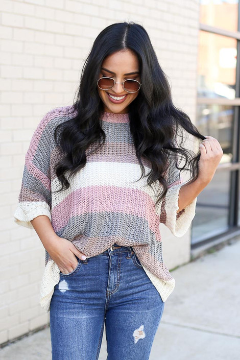 Blush - Striped Loose Knit Sweater Top from Dress Up