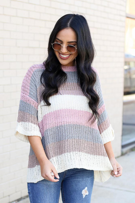 Blush - Striped Loose Knit Sweater Top