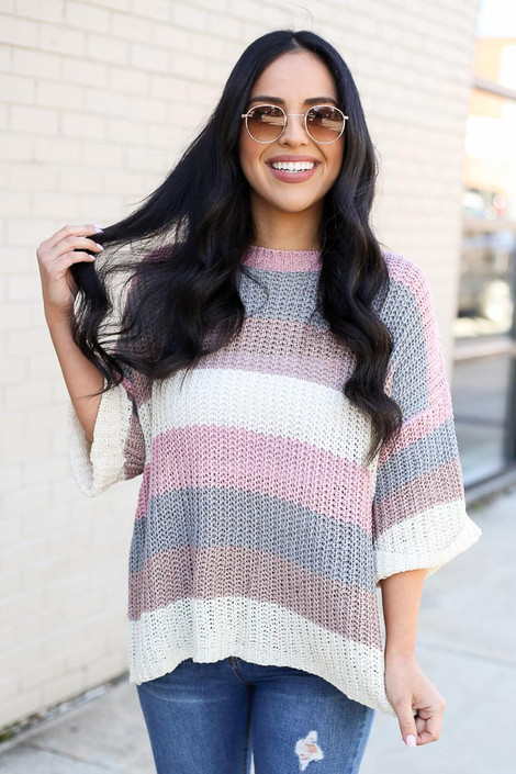 Model from Dress Up wearing the Striped Loose Knit Sweater Top