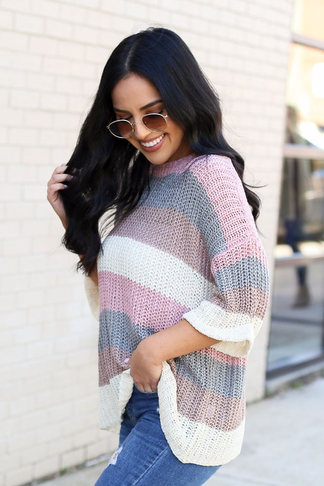 Model from Dress Up wearing the Striped Loose Knit Sweater Top Side View
