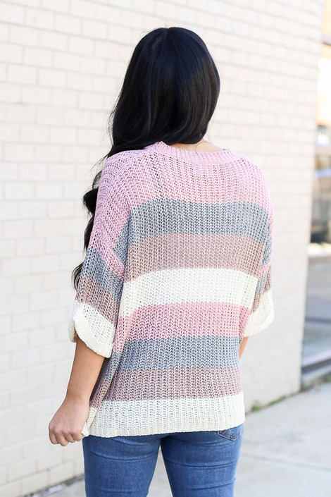 Model from Dress Up wearing the Striped Loose Knit Sweater Top Back View