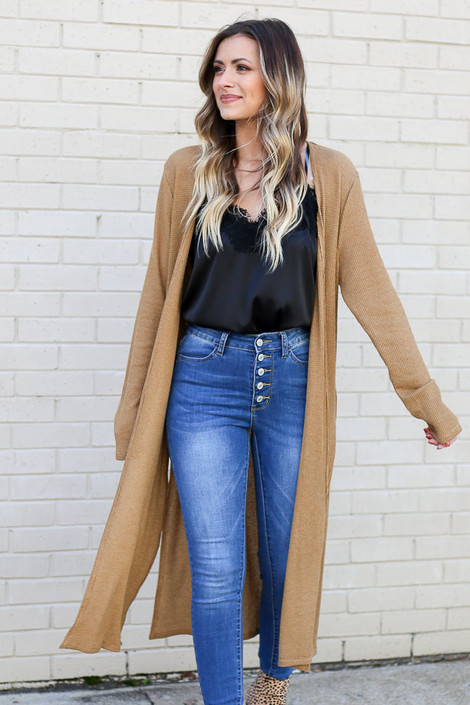 Camel - Knit Duster Cardigan
