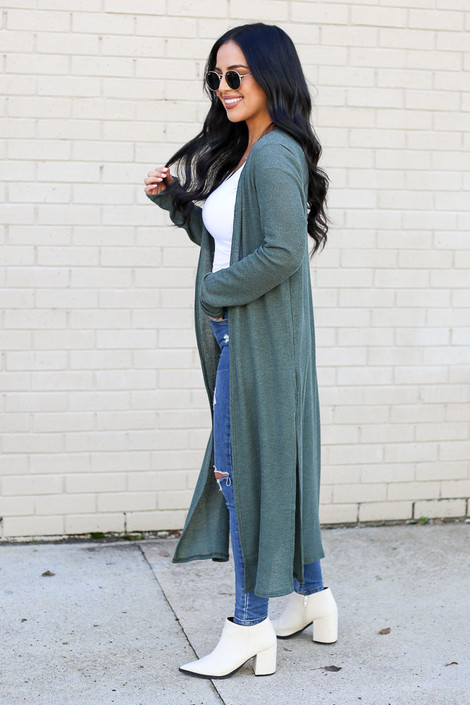 Olive - Knit Duster Cardigan from Dress Up Side View