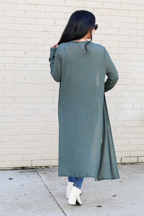 Model wearing the Olive Knit Duster Cardigan from Dress Up Back View