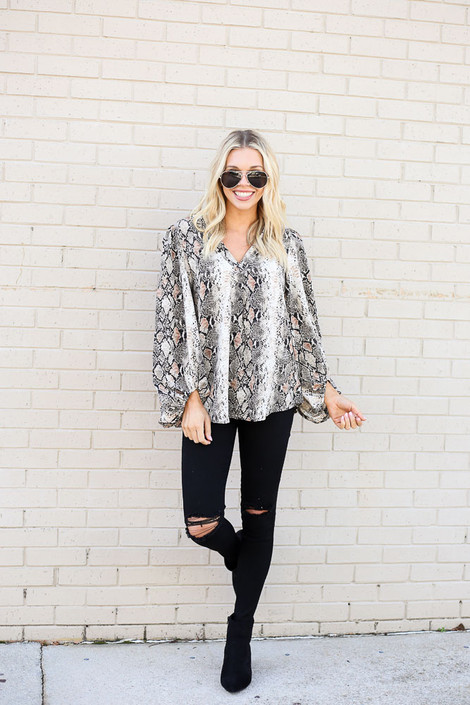 Ivory - Snakeskin Balloon Sleeve Blouse