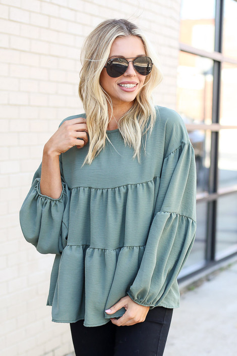 Olive - Tiered Babydoll Blouse
