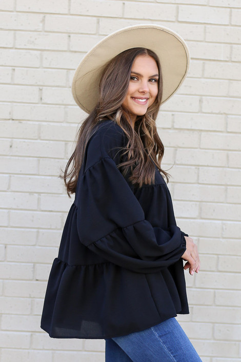 Black - Tiered Babydoll Blouse from Dress Up