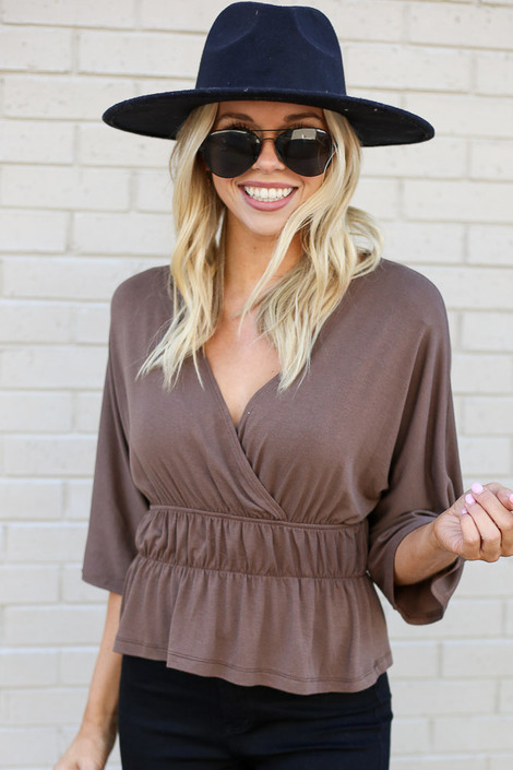 Mocha - Smocked Surplice Top