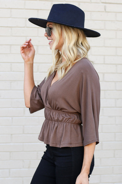 Mocha - Smocked Surplice Top from Dress Up Boutique