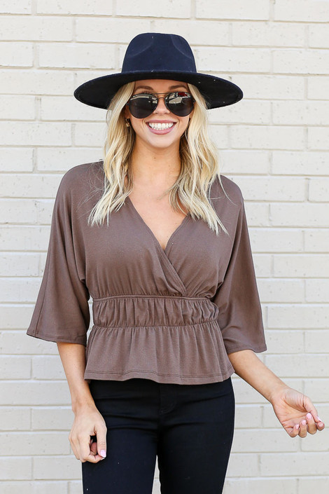 Model of Dress Up wearing the Smocked Surplice Top in Mocha Front View