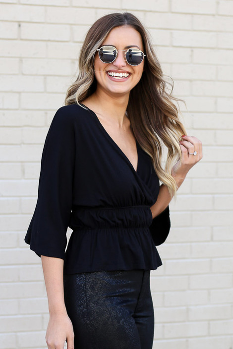 Black - Smocked Surplice Top from Dress Up Boutique