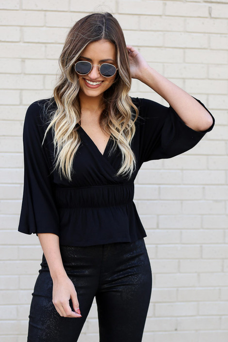 Black - Smocked Surplice Top