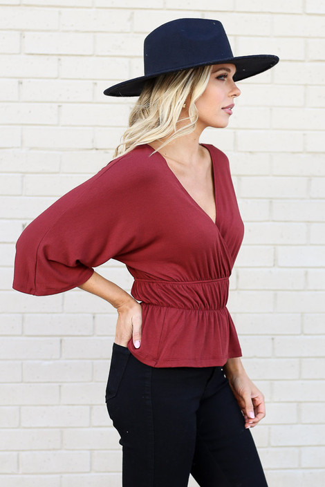 Rust - Smocked Surplice Top from Dress Up Boutique