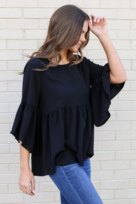 Black - Ruffle Sleeve Babydoll Blouse from Dress Up