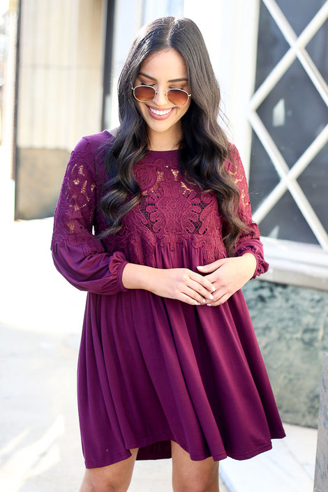 Purple - Crochet Lace Dress