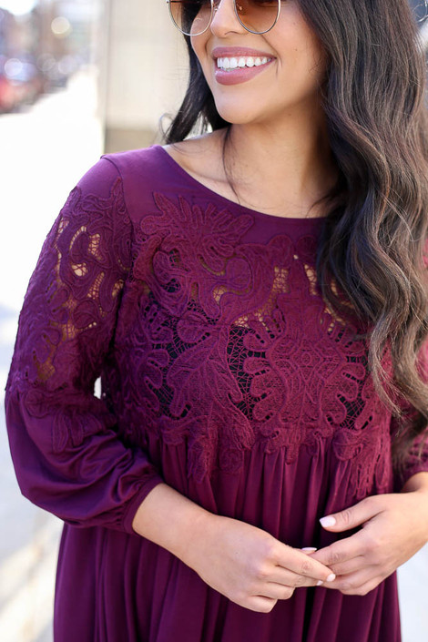 Close Up on Model from Dress Up wearing the Purple Crochet Lace Dress