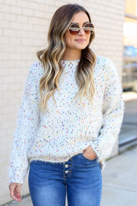 Ivory - Confetti Eyelash Knit Sweater from Dress Up