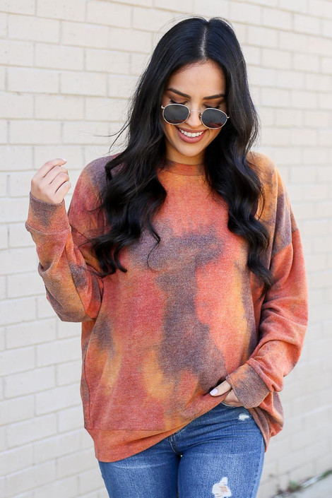 Rust - Tie Dye Lightweight Pullover from Dress Up