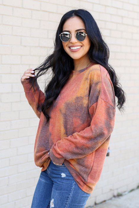 Rust - Tie Dye Lightweight Pullover from Dress Up Side View