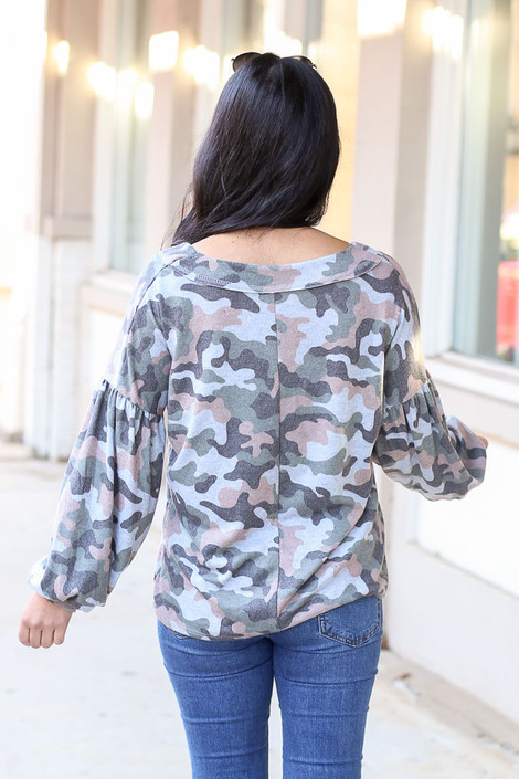 Model wearing Camo Brushed Knit Top from Dress Up Back View
