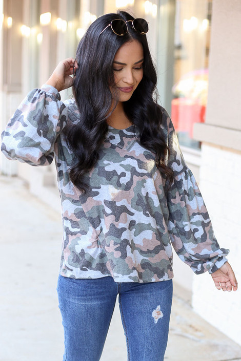 Dress Up Model wearing the Camo Brushed Knit Top Front View