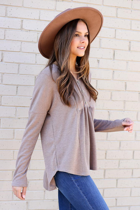 Taupe - Thermal Knit Top from Dress Up Side View