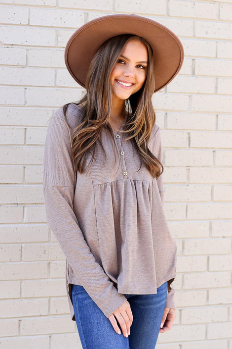 Taupe - Thermal Knit Top from Dress Up
