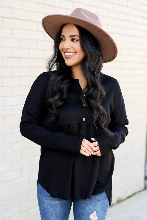 Black - Thermal Knit Babydoll Top from Dress Up