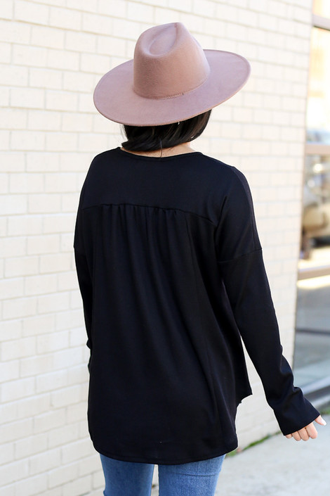 Model wearing the Thermal Knit Babydoll Top Back View